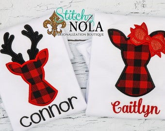 Buffalo Plaid Deer Applique, Buffalo Plaid Doe Applique, Deer Applique, Deer with Bow Applique, Christmas Applique