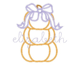 Stacked Pumpkins with Bow Applique, Pumpkin Applique, Girl Pumpkin Applique, Fall Applique, Pumpkin Patch Outfit