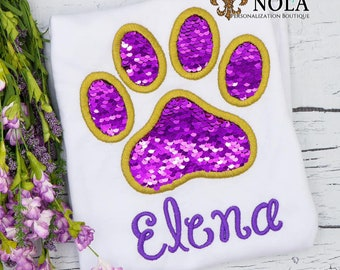 Flip Sequins Paw Print Applique, Sequined Paw Print Applique, Sparkly Paw Print Applique, Purple and Gold Sequins