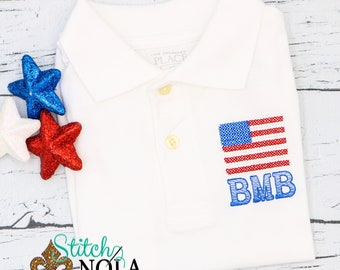 Flag Monogrammed Collared Shirt, Fourth of July Collared Shirt