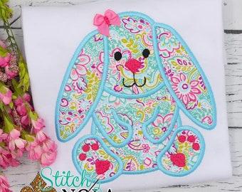 Floral Bunny Applique, Easter Shirt, Spring Applique, Easter Applique, Easter Bunny Shirt, Girl Easter Shirt
