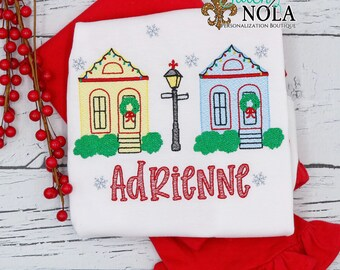 Christmas in New Orleans Sketch Embroidery Top and Bottom Set, New Orleans Christmas Houses Sketch, NOLA XMAS, NOLA Christmas, Personalized