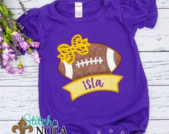 Purple and Gold Football with Bow Applique, Tiger Football, Tiger Cheer