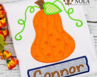 Pumpkin Appliqué, Pumpkin Appliqué with Name Box, Pumpkin Appliqué, Fall Appliqué, Pumpkin Shirt