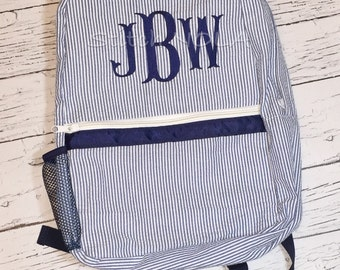 Seersucker Backpack with Monogram, Seersucker Diaper Bag, Seersucker School Bag, Seersucker Bag, Diaper Bag, School Bag, Book Bag, Backpack