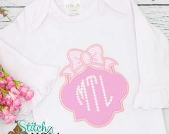 Monogrammed Baby Gown, Baby Girl Gown
