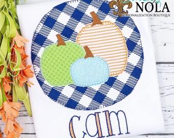 Pumpkin Trio inside Circle Appliqué, Pumpkin Patch Appliqué, Pumpkin Appliqué, Fall Appliqué, Pumpkin Shirt