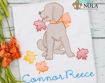 Fall Leaves Dog Sketch Embroidery, Dog with Fall Leaves, Lab with Fall Leaves, Fall Leaves Pup