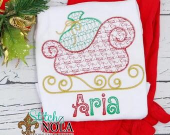Vintage Christmas Sleigh Motif Top And Bottom Set, Sleigh With Santa's Sack, Sketch Christmas Sleigh, Holiday Embroidered Outfit
