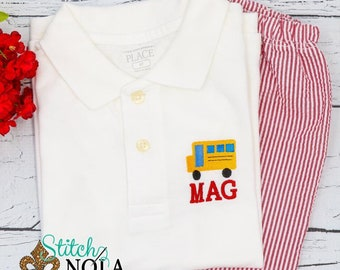 Back to School Outfit - School Bus Outfit - School Bus Polo Shirt and Shorts Set
