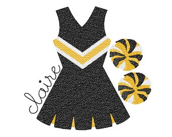 Cheerleader and Pom Poms Sketch Embroidery, Louisiana Football Shirt,