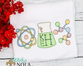 Science Back to School Sketch Embroidery, Back to School , Mad Scientist, Atoms, Test Tube, Experiment