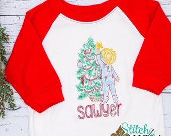 Child Decorating Christmas Tree Vintage Embroidery, Vintage Christmas Tree, Christmas Vintage Embroidery, Raglan