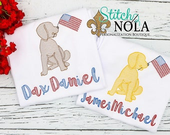Patriotic Dog with Flag Sketch Embroidery, Lab with American Flag