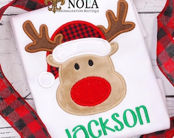 Personalized Reindeer with Santa Hat Applique, Santa Reindeer Applique, Personalized Christmas Shirt, XMAS Applique, Reindeer Applique
