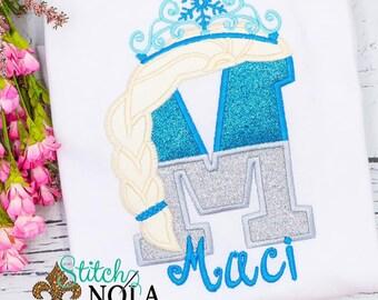 Ice Queen Alpha Applique, Ice Princess Letter Applique, Glitter Alpha With Tiara, Girls Alpha Applique Shirt