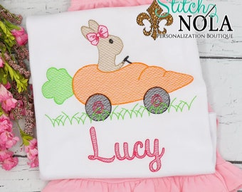 Girl Bunny in Carrot Car Top And Bottom Set, Easter Sketch Embroidery, Spring Embroidery, Easter Outfit, Girl Easter Outfit