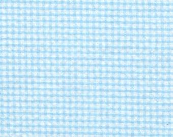 Aqua Check Seersucker Fabric, Fabric Finders, 100% Cotton, Aqua Check