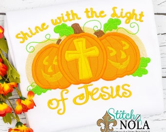 Shine with the Light of Jesus Pumpkin Shirt, Romper or Bodysuit