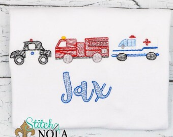 Emergency Vehicles Sketch Embroidery, 911 Vehicle Trio