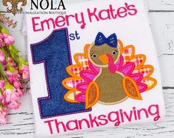 First Thanksgiving Turkey Applique, Turkey Applique, Thanksgiving Applique, First Thanksgiving Outfit, Turkey Embroidery, Thanksgiving Shirt