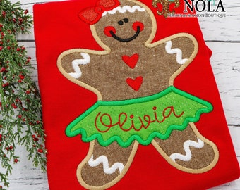 Red Long Sleeve  Romper with Gingerbread Applique