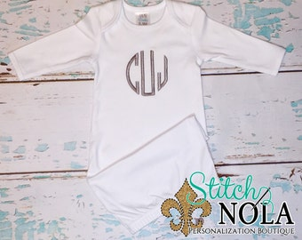 SHIPS FAST!!  Monogrammed Infant Gown