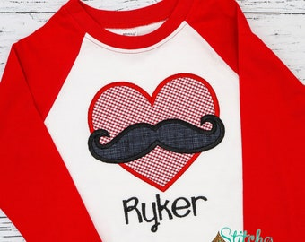 Heart Mustache Applique, Valentines Day Appliqué