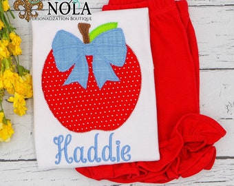 Apple with Bow Shirt and Shorts Set, Apple Applique, Back to School Applique, School Shirt