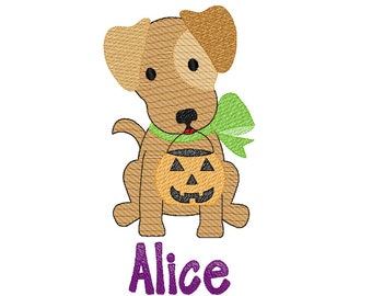 Halloween Puppy, Trick or Treat Puppy, Vintage Pup with Pumpkin, Sketch Halloween Embroidery, Vintage Halloween