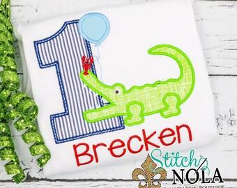 Alligator Crawfish Birthday Applique, Alligator Applique, Crawfish Applique, Birthday Balloon Applique, Louisiana Birthday Theme, Cajun
