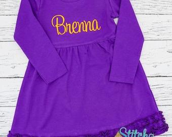 Monogrammed Long Sleeved  Purple Ruffle Dress