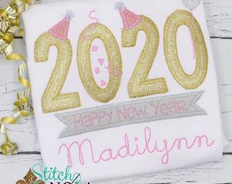 New Years Applique, New Year Applique, New Years Eve Applique, New Years Shirt, New Year Tee, Girls New Years Shirt