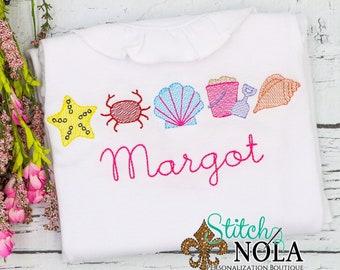 Beach Set Sketch Embroidery, Beach Shirt, Starfish, Crab, Sea Shells, Beach Bucket