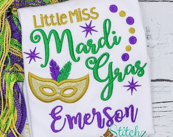 Little Miss Mardi Gras Mask Applique, Mardi Gras Embroidery, Purple Green And Gold, Mardi Gras Applique, Mardi Gras Outfit