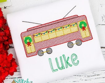 Christmas Streetcar Sketch Embroidery, New Orleans Streetcar, Vintage Streetcar, Streetcar Embroidery, XMAS Streetcar, New Orleans XMAS
