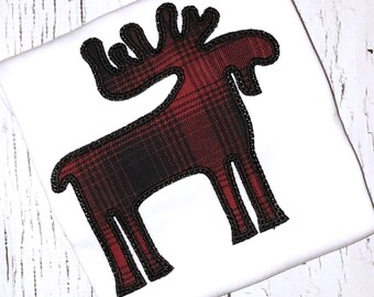 Moose Applique, Red and Black Plaid Moose, Plaid Moose Applique, Christmas Moose, Winter Moose Applique, Plaid Moose Shirt