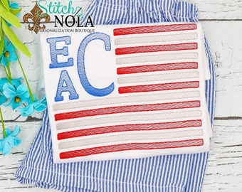 Flag Monogram Sketch Embroidery Top and Shorts Set, Fourth of July, Independence Day