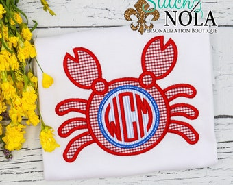 Crab Monogram Applique, Crab Applique, Crab Shirt