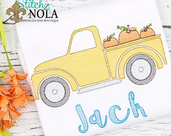 Pumpkin Truck Sketch Embroidery, Truck with Pumpkin, Lab with Pumpkin, Pumpkin Truck