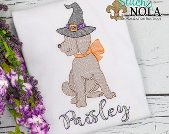 Halloween Witch Dog Sketch Embroidery, Puppy with Witch Hat, Halloween Dog, Halloween Shirt