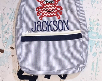 Seersucker Backpack with Crab, Seersucker Diaper Bag, Seersucker School Bag, Seersucker Bag, Diaper Bag, School Bag, Book Bag, Backpack