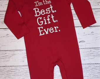 FAST SHIP! Best Gift Ever on a Red Long Sleeve Romper