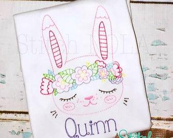 VINTAGE FLOWER BUNNY, Vintage Bunny, Easter Shirt, Vintage Easter Shirt