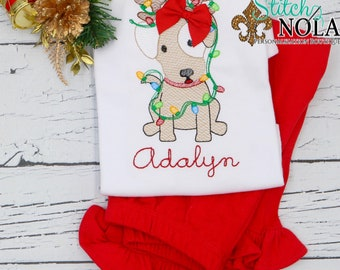 Vintage Christmas Dog With Lights Top And Bottom Set, Girl Puppy Embroidery, Sketch Christmas Dog, Holiday Embroidered Outfit