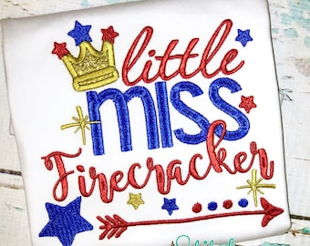 Little Miss Firefracker, 4th of July Applique, Fourth of July Applique, Fireworks Applique, Firecracker Applique, Firecracker