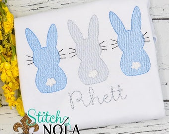 Boy Bunny Trio Sketch Embroidery, Bunny Easter Sketch, Easter Embroidery, Boy Spring Embroidery, Boy Easter Shirt
