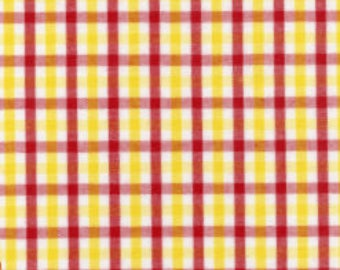 Red Yellow Check Fabric, Fabric Finders, 100% Cotton,Lavender Red Yellow Gingham, Red Check, Yellow Check