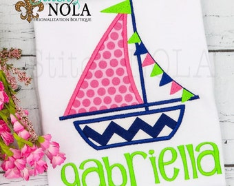 Sailboat Applique, Personalized Sailboat Tee, Monogrammed Sailboat, Monogrammed Beach Shirt