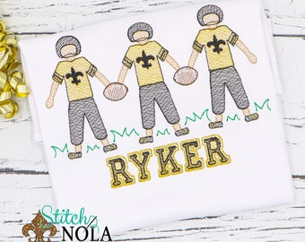 Football Player Trio Sketch Embroidery, Louisiana Football, Black and Gold Football